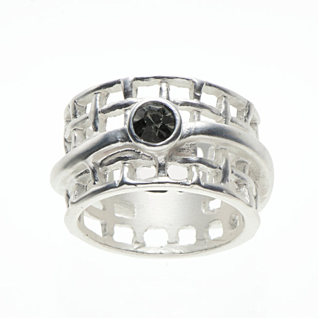 Ring elastisch versilbert matt black diamond