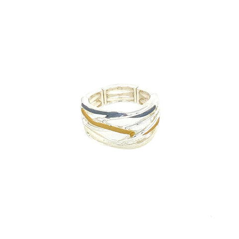 Ring elastisch versilbert matt tri-color