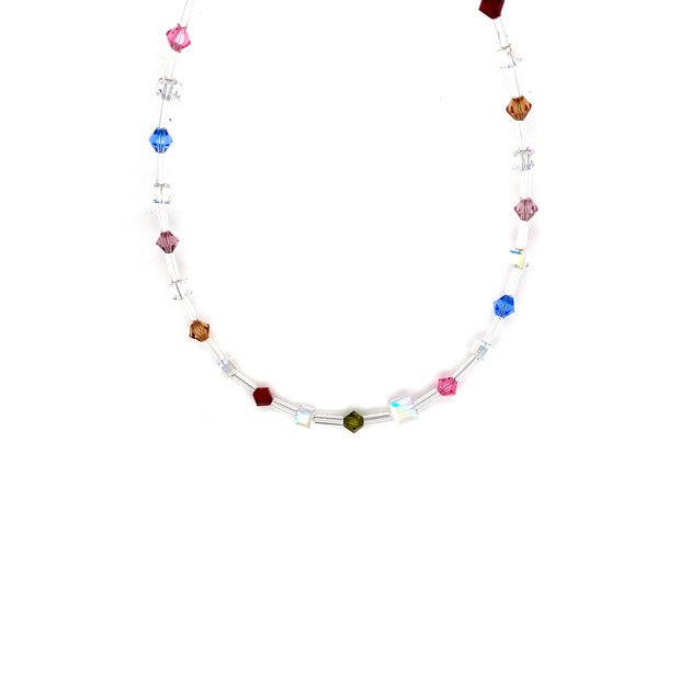Collier versilbert  multi-color dunkel Swarovskisteine Multi-color