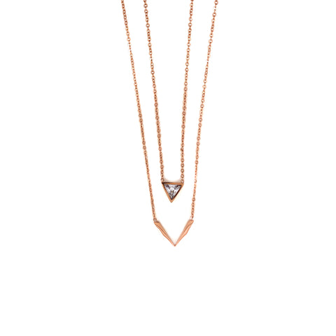 Collier 2rhg. rose gold/Kristall