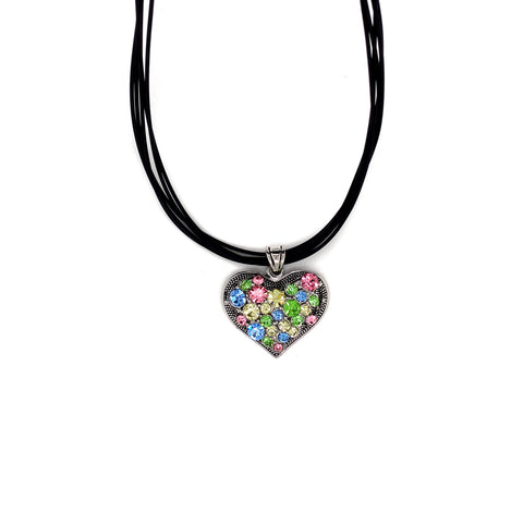 Collier rhodiniert  multi-color hell
