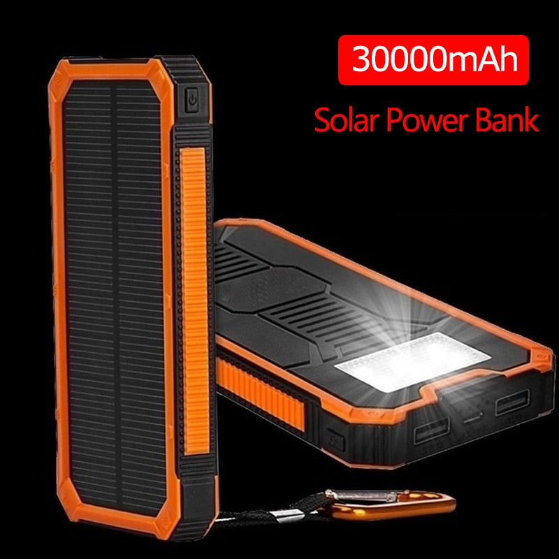 Huge Capacity Solar Power Bank 30000mAh Dual-USB Waterproof Solar Power Bank Battery Charger For All Phone Iphone Huawei Xiaomi