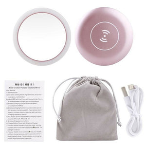 Illuminating Portable Makeup Mirror With USB Charger
