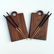 Load image into Gallery viewer, Black Walnut Personal Serving Boards - Set of 2