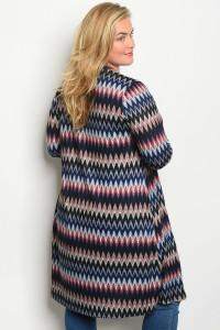 Navy Multi Print Cardigan