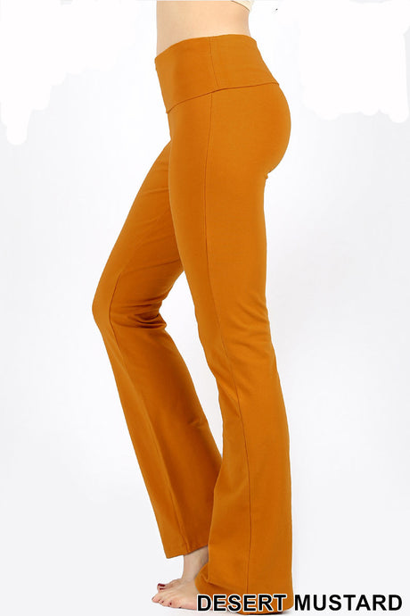 Fold-Over Cotton Yoga Flare Pants