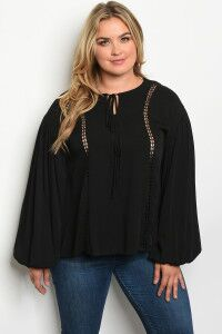 Black Neck Tie Blouse