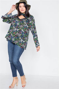 Blue Floral Bell Sleeve Blouse