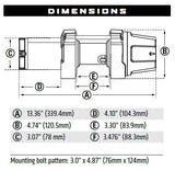 Warn VRX Winch Dimensions