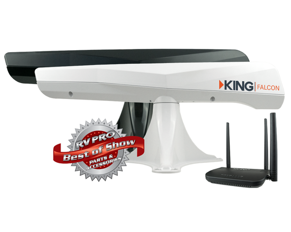 King |  Falcon Roof Mounted Automatic Directional WiFi Antenna w/WiFiMax Extender | Black | KF1001