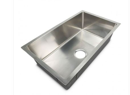 "Lippert Components | Better Bath Single Bowl Square Sink | Stainless Steel | 27""x 16""x 7"" 