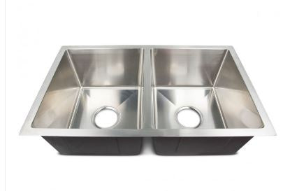 "Lippert Components | Better Bath Double Bowl Square Sink | Stainless Steel | 27""x 16""x 7"" 