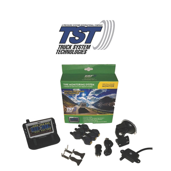 TST Tire Pressure Monitoring System | 507 Series | 6 Flow Thru Sensor TPMS System with Color Display | TST-507-FT-6-C