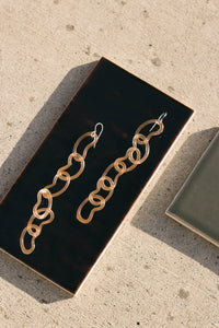 Jane D'Arensbourg | Peach Long Bean Chain Glass Earrings
