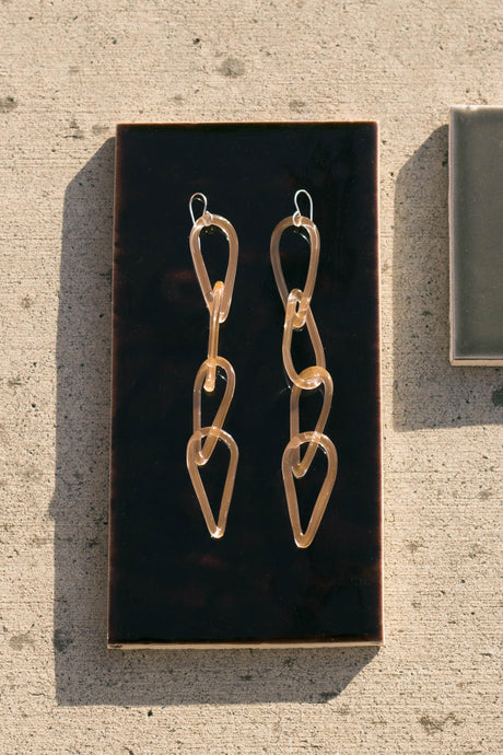 Jane D'Arensbourg | Peach Tear Drop Chain Glass Earrings