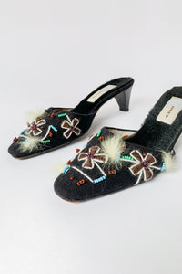 Black Fuzzy Beaded Wool Mules (36)