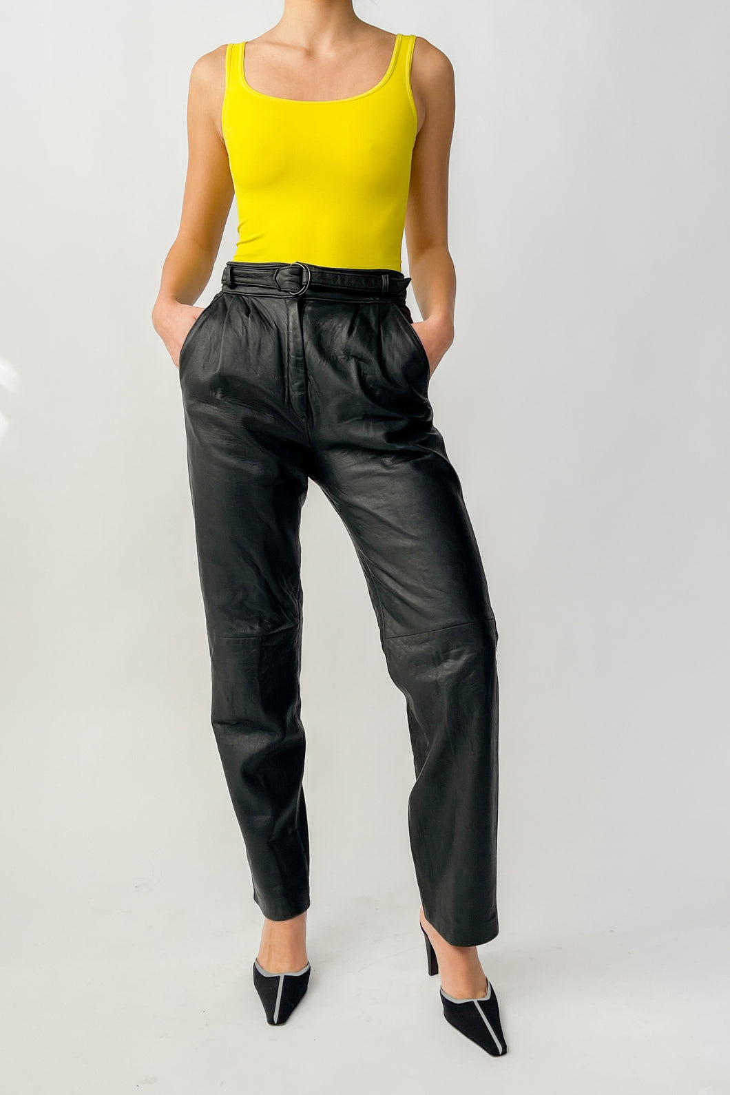 Black Leather Belted Pants (S)