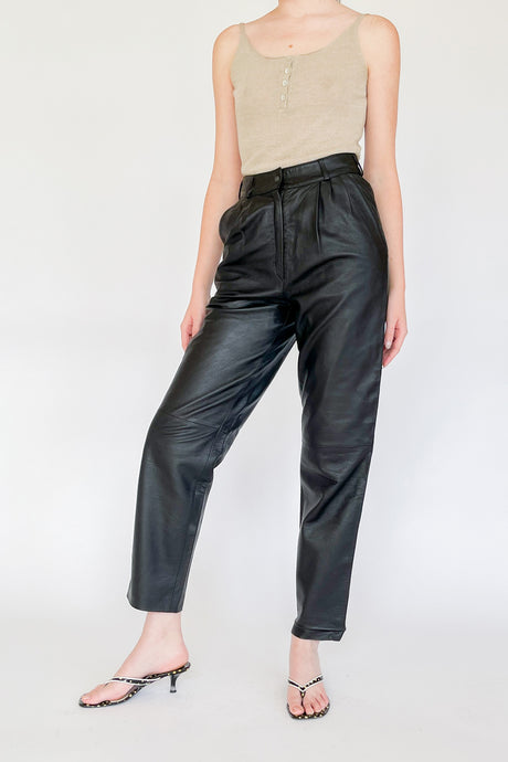 Black High Rise Leather Pants (S)