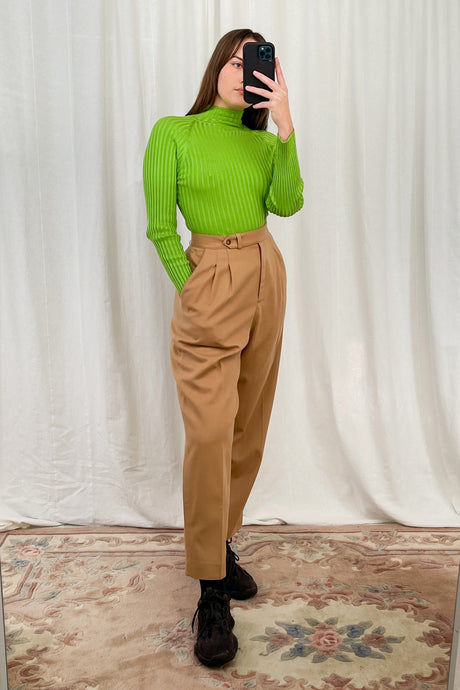 Camel Pleated Trousers (M)