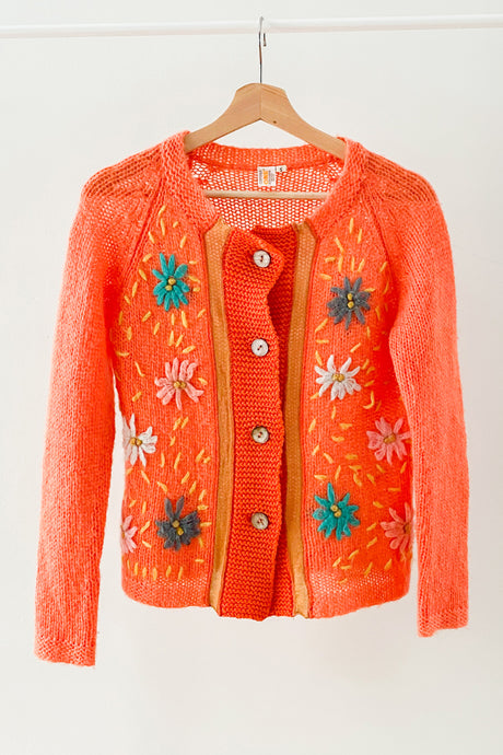 Daisy Embroidered Mohair Cardigan (S-M)