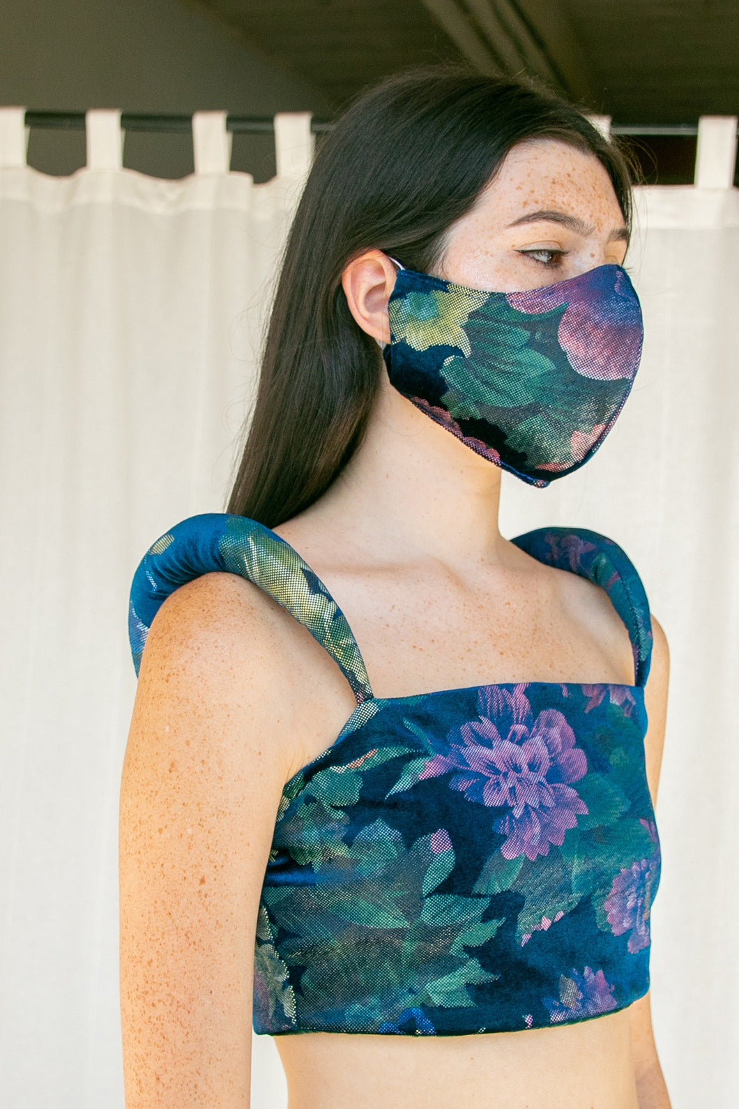 No Wallflower Project | Teal Floral Mask