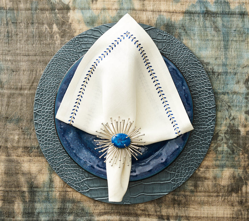 Herringbone Napkin in White & Cobalt