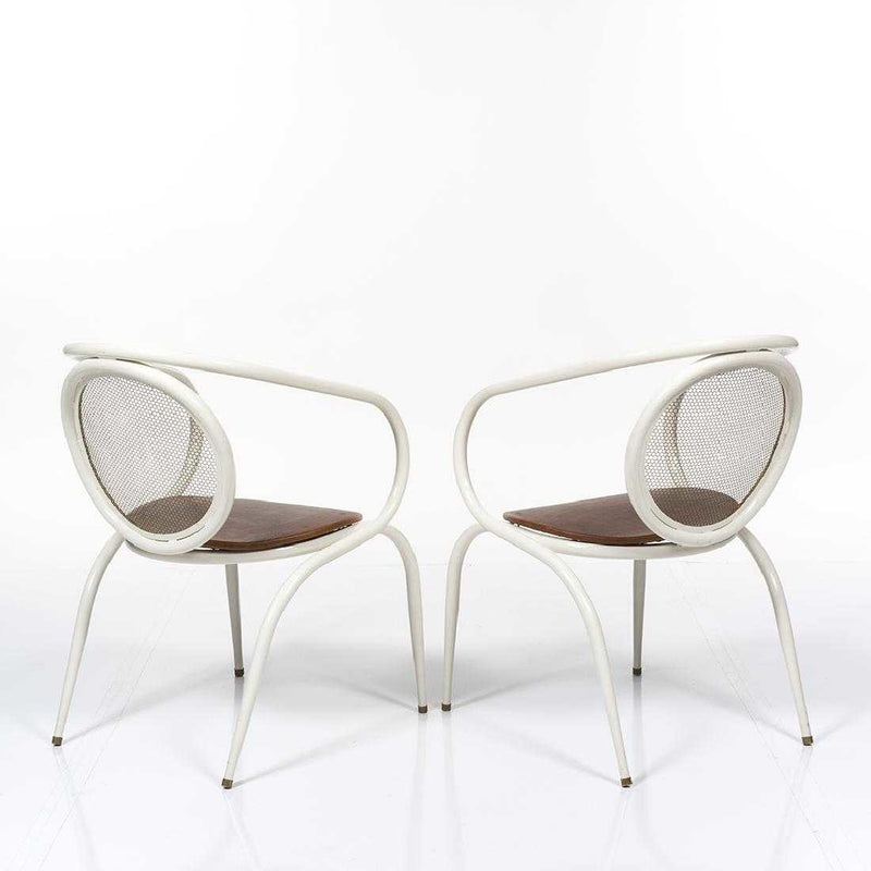 Metal Tubular Armchair with Leather Seat