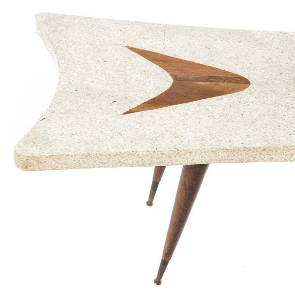 Vintage Surfboard-Style Terrazzo Coffee Table with Wood Inlay