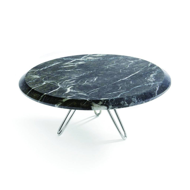 Torta Cake Stand in Carnico Marble, Silver