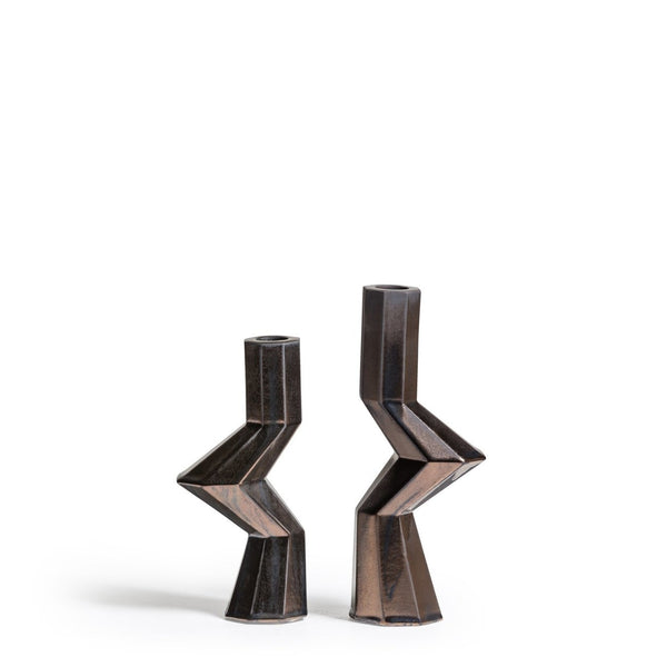 Fortress Militia Candleholders in Bronze Ceramic, Set of 2
