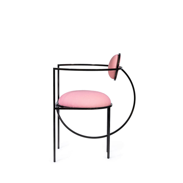 Lunar Chair in Steel and Wool, Pink