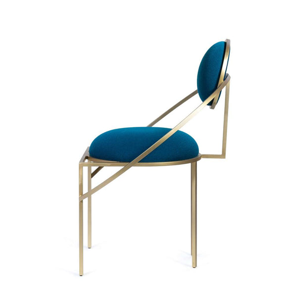 Orbit Chair in Steel and Wool, Blue
