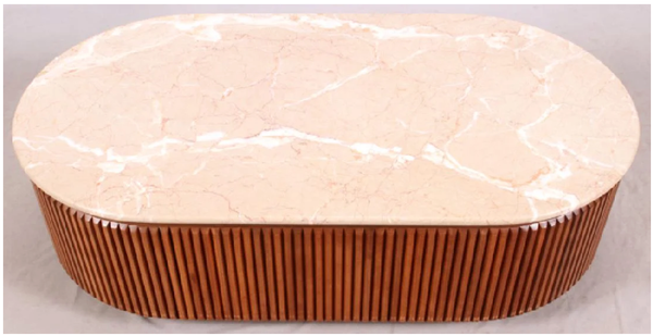 Deco Marble & Walnut Coffee Table