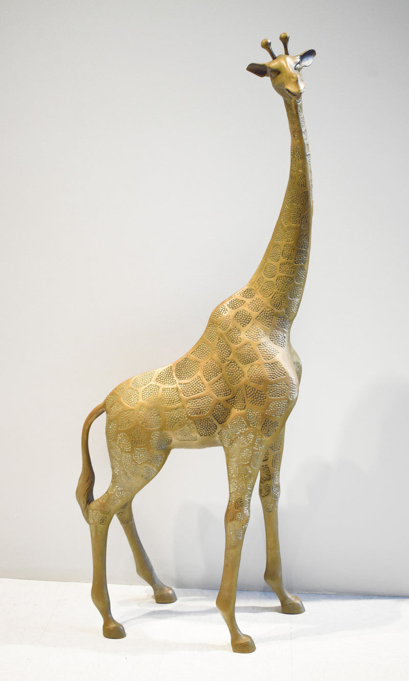 Brass Giraffe Floor Sculpture in the Manner of Sergio Bustamante