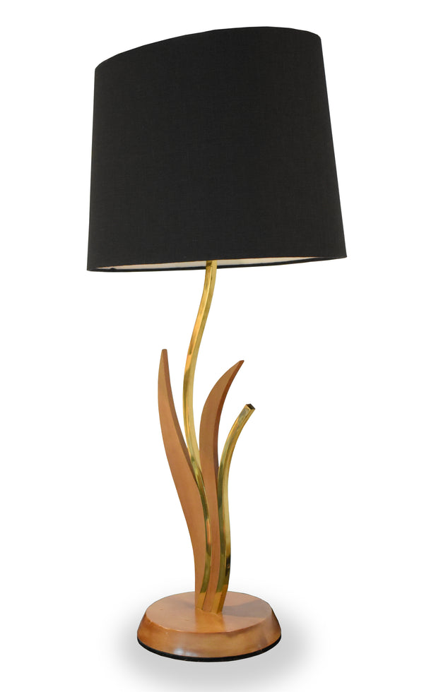 Pair of Brass/Wood Leaf & Stem Modernist Table Lamps