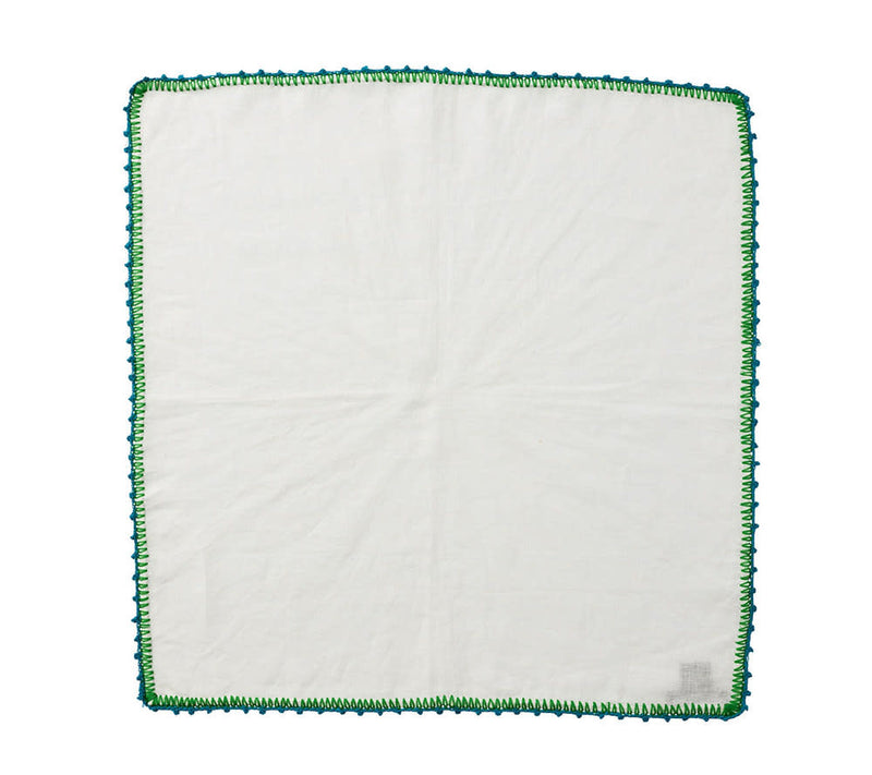 Knotted Edge Napkin in White & Turquoise