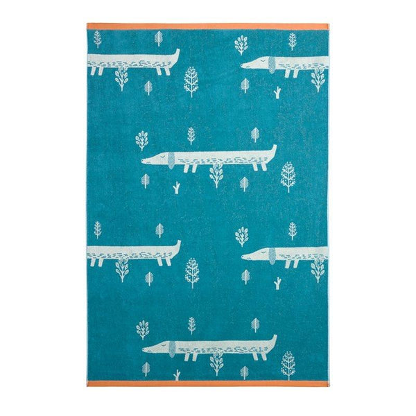 Sausage Dogs Bath Towel (Green)
