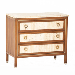 Travertine, Walnut & Brass Three-drawer Chest