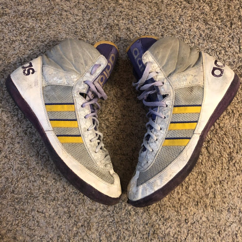 purple and yellow adidas elite international wrestling shoes