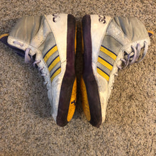 Load image into Gallery viewer, Purple & Yellow Adidas Elite International Wrestling Shoes