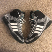 Load image into Gallery viewer, black and green adidas elite international wrestling shoes