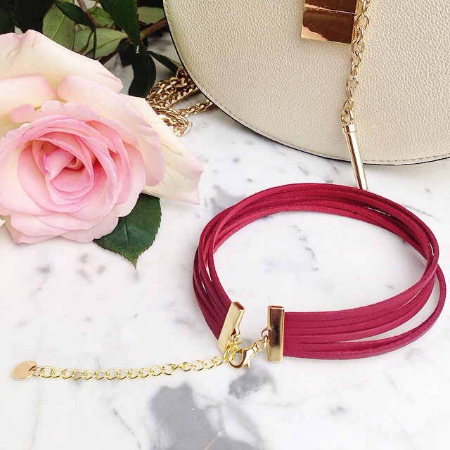 Isabella - Red Faux Leather Six Stranded Choker