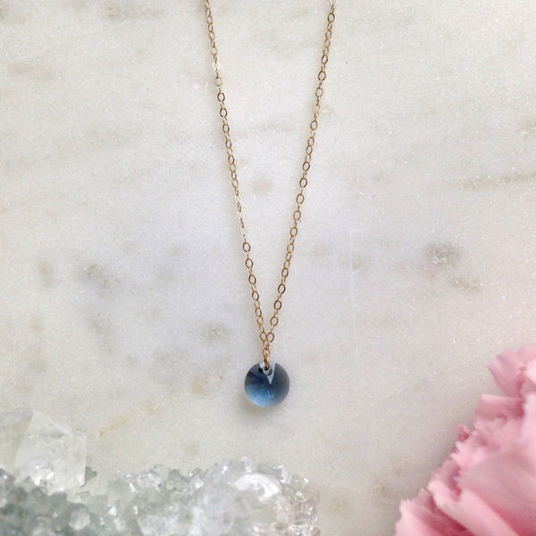 MOVV - Ciella dainty gold-fill and blue swarovski crystal necklace