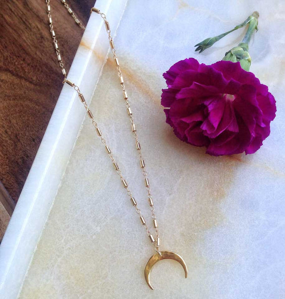 MOVV - Elaise gold fill and vermeil crescent moon necklace