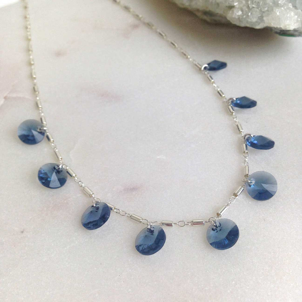 Movv - Gia Dainty necklace in sterling silver and blue Swarovski crystal