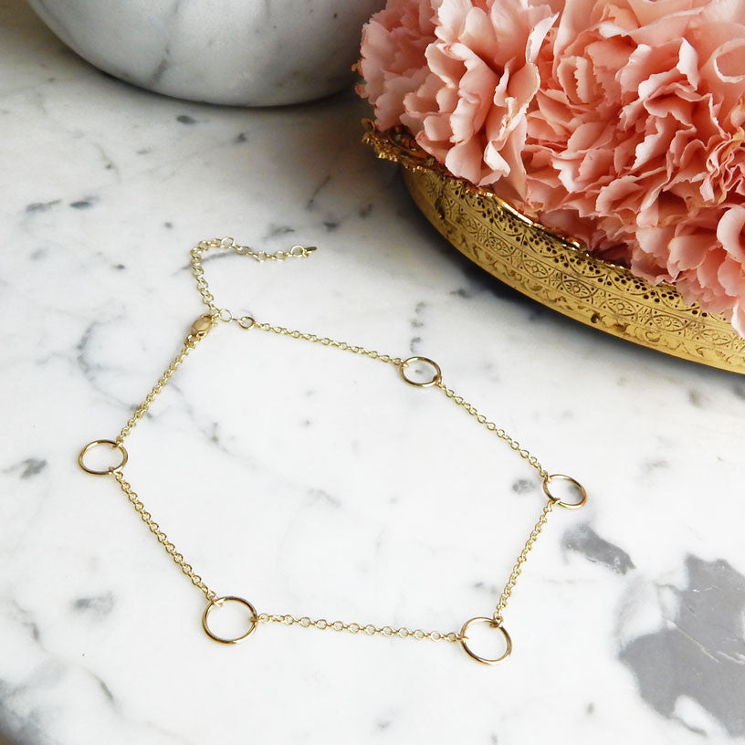 Iva gold filled o-ring choker with vermeil chain flatlay