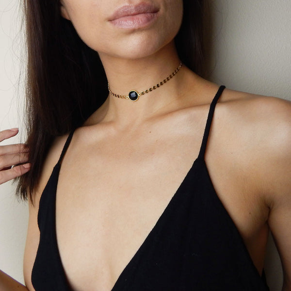 14K gold filled coin choker with black onyx
