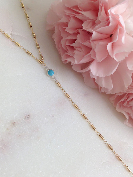 MOVV - Julienne gold fill dainty Y necklace with real turquoise