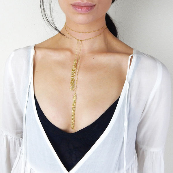 Louisa gold vermeil bolo wrap choker with tassels