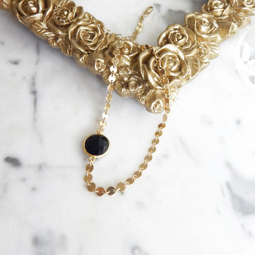 Josefine - 14k gold filled delicate coin choker with black onyx